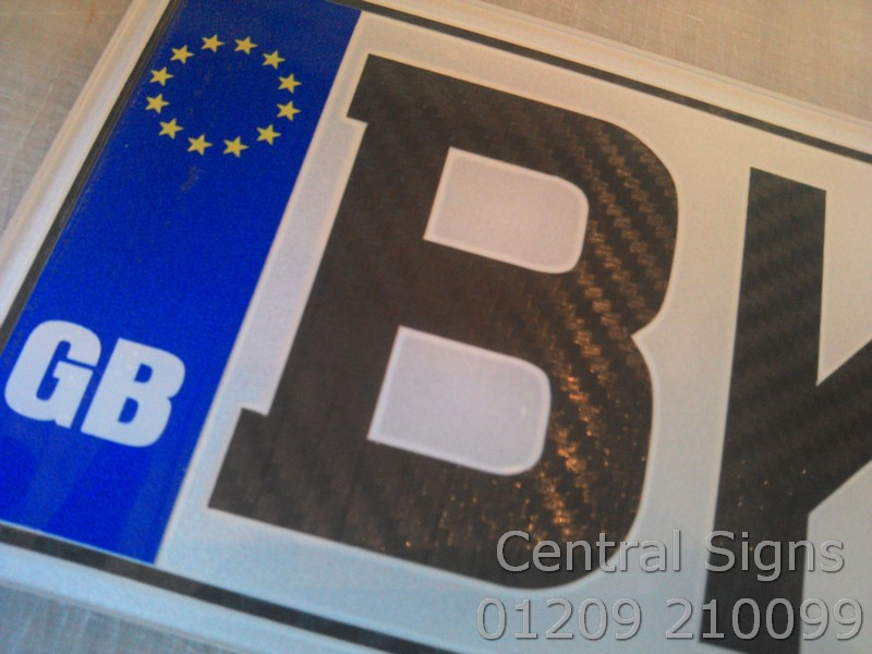 Number Plate with carbon fibre lettering